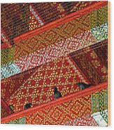 Birds In Rafters Of Royal Temple At Grand Palace Of Thailand  Wood Print