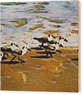 Birds In The Surf Wood Print