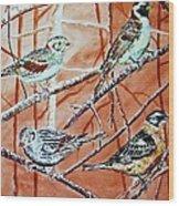 Birds In Tree Wood Print by Linda Vaughon