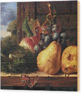Birds Nest Butterfly And Fruit Wood Print by Edward Ladell
