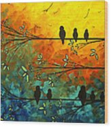 Birds Of A Feather Original Whimsical Painting Wood Print