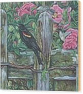 Birds On A Fence Wood Print