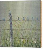 Birds On A Fence Wood Print