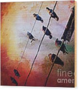 Birds On A Wire Wood Print
