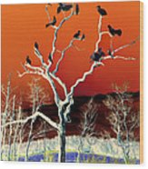 Birds On Tree Wood Print