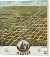 Birdseye View Of Austin Minnesota 1870 Wood Print