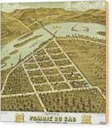 Birdseye View Of Prairie Du Sac Wisconsin 1870 Wood Print