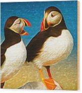 Birdy Gossip Twins Wood Print