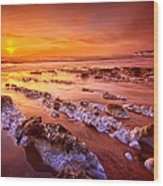 Birling Gap Sunset Wood Print by Mark Leader