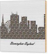 Birmingham England 3d Stone Wall Skyline Wood Print