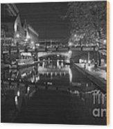 Birmingham Old Canal Bw Wood Print