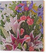 Birthday Bouquet Card Wood Print
