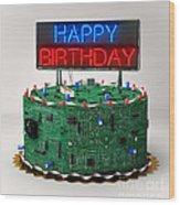 Birthday Cake For Geeks Wood Print