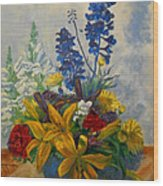 Birthday Flowers 1 Wood Print by Brian  Pinkey