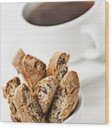 Biscotti And Coffee Wood Print