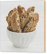 Biscotti Cookies In Bowl Wood Print