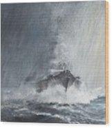 Bismarck Through Curtains Of Rain Wood Print