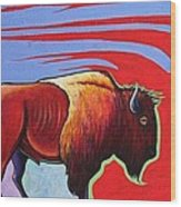 Bison in the Winds of Change Wood Print