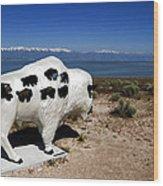 Bison Sculpture Great Salt Lake Utah Wood Print