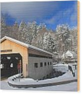 Bissell Covered Bridge In Winter Wood Print