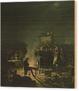 Bivouac Of Napoleon I 1769-1821 On The Battlefield Of The Battle Of Wagram, 5th-6th July 1809, 1810 Wood Print