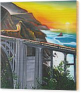 Bixby Coastal Bridge Of California At Sunset Wood Print