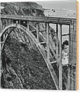 Bixby Creek Bridge Black And White Wood Print by Benjamin Yeager
