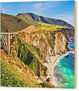 Bixby Creek Bridge Oil On Canvas Wood Print