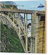 Bixby Creek Bridge Panorama Wood Print by Benjamin Yeager