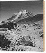 Bizarre Landscape Bolivia Black And White Wood Print