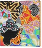 Bizzarro Colorful Psychedelic Floral Abstract Wood Print