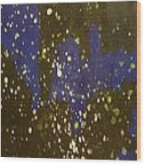 Black And Blue Splatter Wood Print