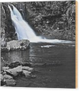 Black And Color Waterfall Wood Print