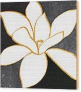 Black And Gold Magnolia- Floral Art Wood Print