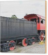 Black And Red Steam Engine Wood Print