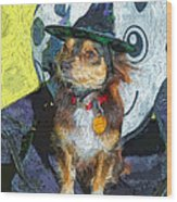 Black And Tan Chihuahua - Such A Good Little Witch Wood Print