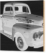 Black And White 1951 Ford F-1 Pickup Truck  Wood Print