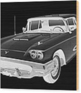 Black And White 1958  Ford Thunderbird  Car Pop Art Wood Print