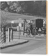Black And White Amish Horse And Buggy Wood Print
