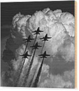 Black And White And Blue Angels Wood Print