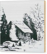 Black And White Barn In Snow Wood Print