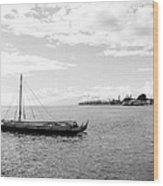 Black And White Boat Wood Print