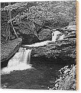 Black And White Cascade Wood Print