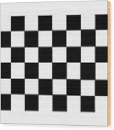 Black And White Checkered Flag Wood Print