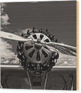 Black And White Close-up Of Airplane Engine Wood Print