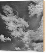 black and white Cloud formation skyscape summer 2013 white to grey clouds on a blue sky Wood Print