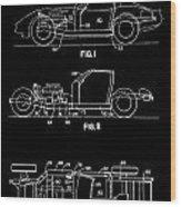 Black And White Corvette Patent Wood Print
