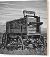 Black And White Covered Wagon Wood Print by Athena Mckinzie