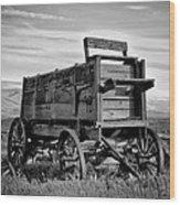 Black And White Covered Wagon Wood Print