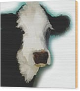 Black And White Cow On White Wood Print